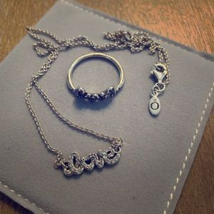 Pandora LOVE necklace and LOVE ring set